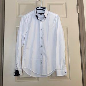 Zara men's white button down dress shirt
